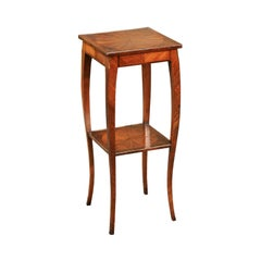 Italian 1820s Walnut Veneered Side Table with Inlay and Pull-Out Shelf