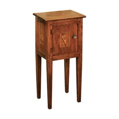Italian, 1840s Neoclassical Style Walnut Nightstand Cabinet with Marquetry Décor