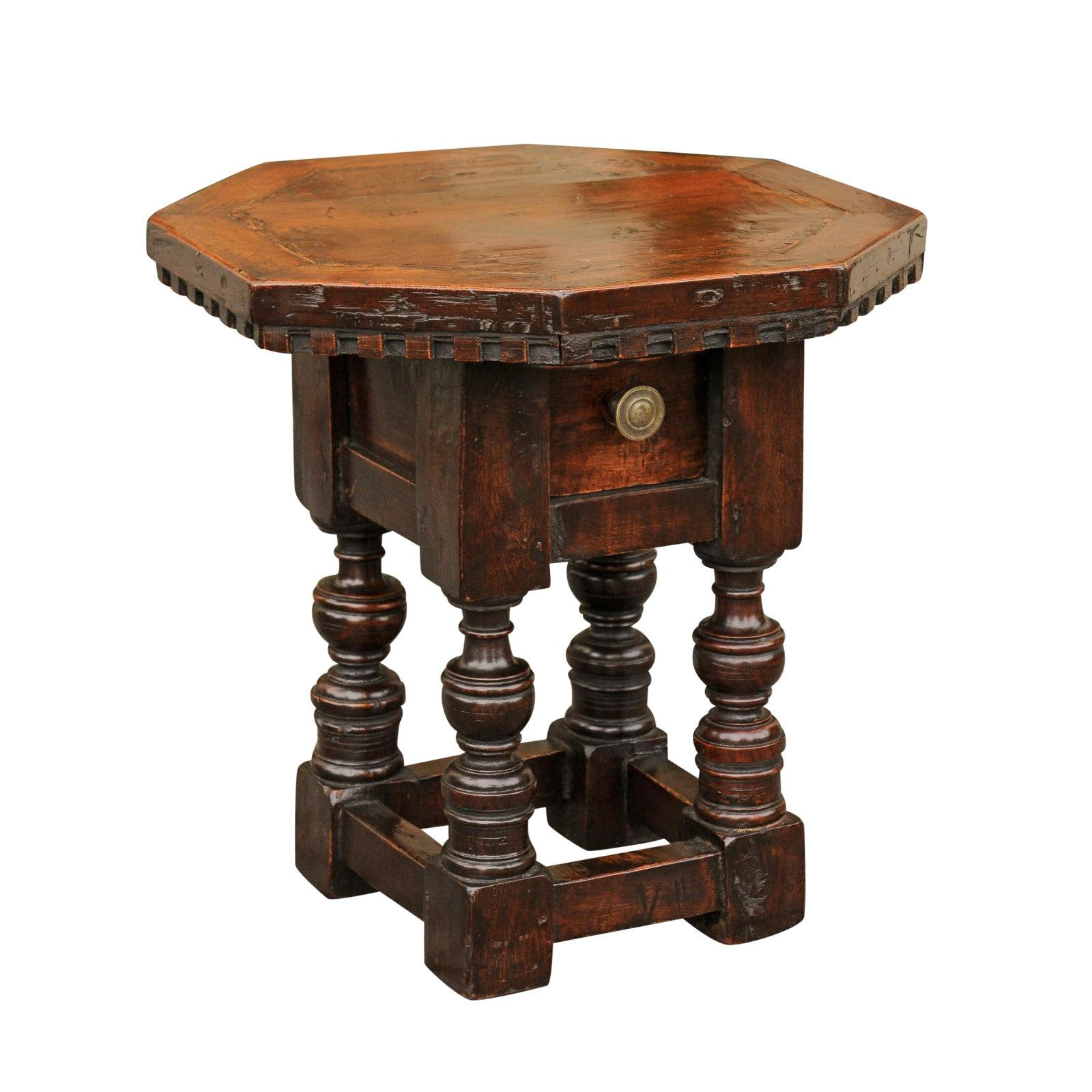 Italian 1840s Walnut Side Table with Octagonal Top, One Drawer and Turned Base