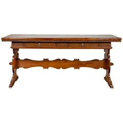 Italian 1840s Walnut Trestle Table with Two Drawers and Fluted Accents