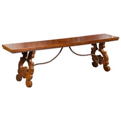 Italian 1850s Baroque Style Walnut Bench with Iron Stretcher and Lyre Legs