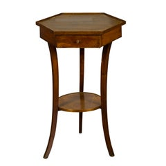 Italian 1850s Walnut Side Table with Hexagonal Top, Single Drawer and Low Shelf