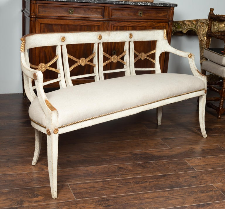 Gilt Italian 1860s Painted Wood Bench with Gilded Accents and New Upholstery For Sale