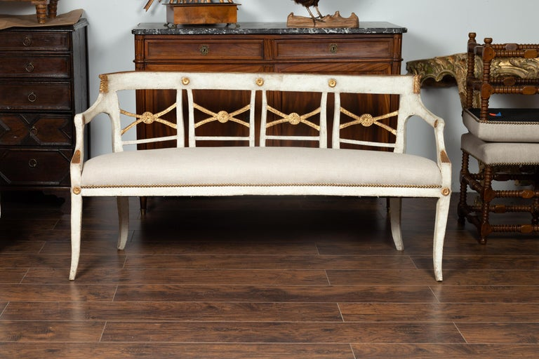 Italian 1860s Painted Wood Bench with Gilded Accents and New Upholstery In Good Condition For Sale In Atlanta, GA