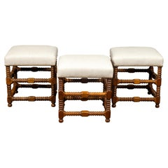 Italian 1860s Walnut Spool Leg Stool with New Upholstery and Side Stretchers