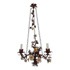Italian 1870 Tole Polychrome  Porcelain Flowers with Chain Chandelier