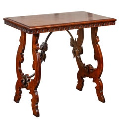 Italian 1870s Baroque Style Walnut Table with Lyre Legs and Iron Stretcher