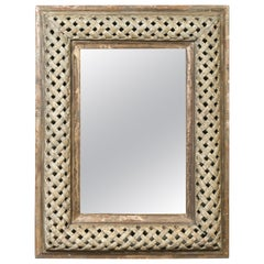 Italian 1870s Painted and Carved Wooden Mirror with Trellis Inspired Motifs