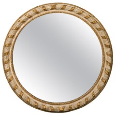 Italian 1880s Parcel-Gilt and Painted Circular Mirror with Carved Ribbon