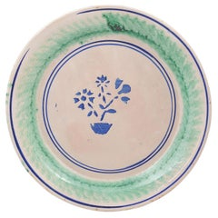 Italian 1895s Pottery Platter with Stylized Floral Motifs and Green Accents