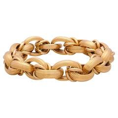 Italian 18k Gold Textured Link Bracelet