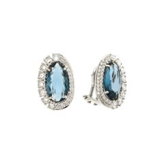 Italian 18k London Blue Topaz Diamonds Elegant White Gold Earrings for Her
