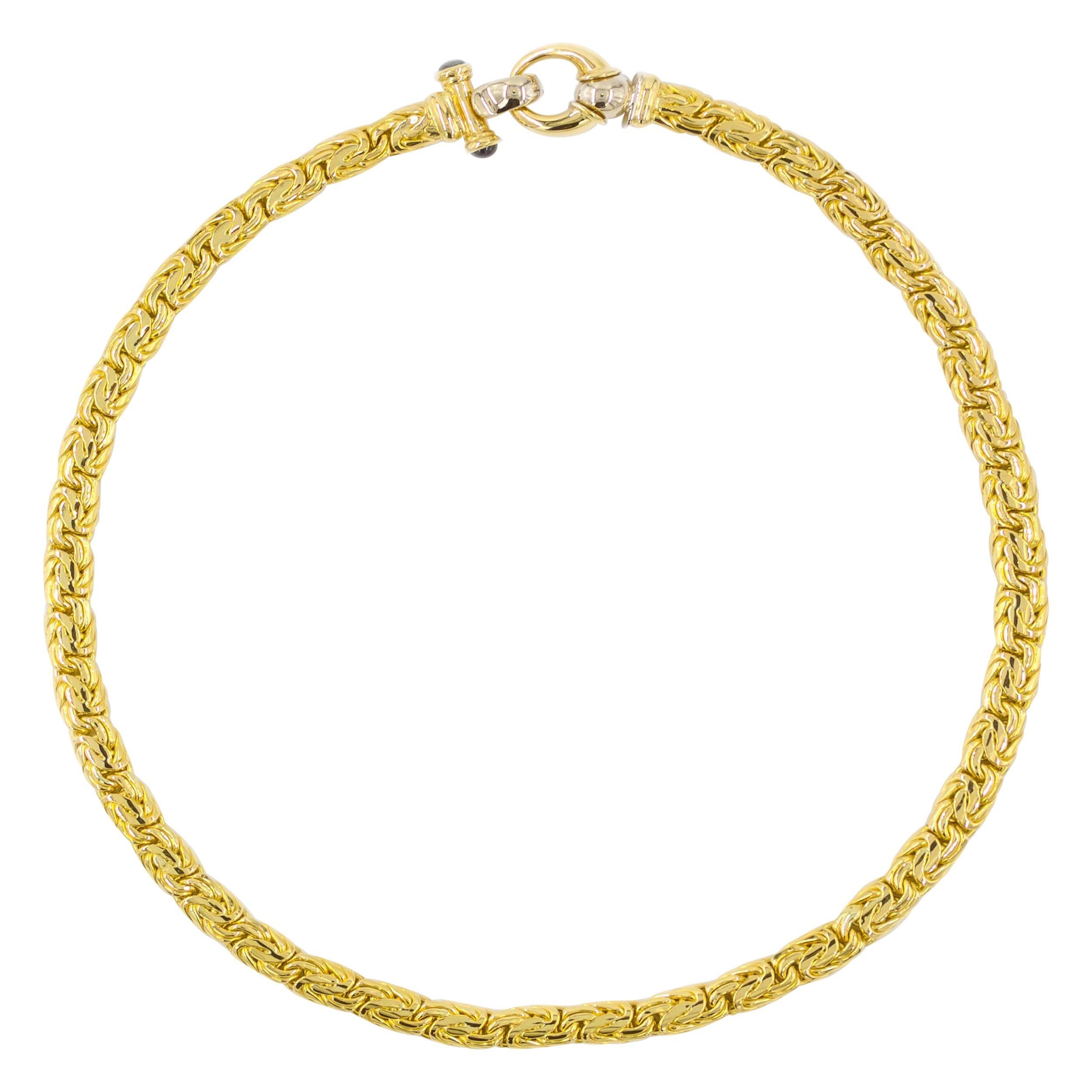 Italian 18k Yellow Gold Byzantine Necklace with Sapphire Gemstones