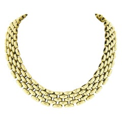 Italian 18k Yellow Gold Polished Wide Panther Link Chain Choker Necklace