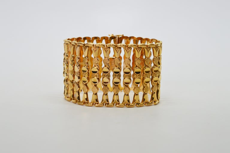 Italian 18 Karat Yellow Gold Wide Ladder Link Bracelet For Sale 7