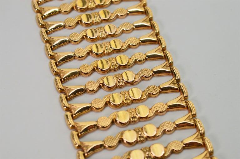 Women's Italian 18 Karat Yellow Gold Wide Ladder Link Bracelet For Sale