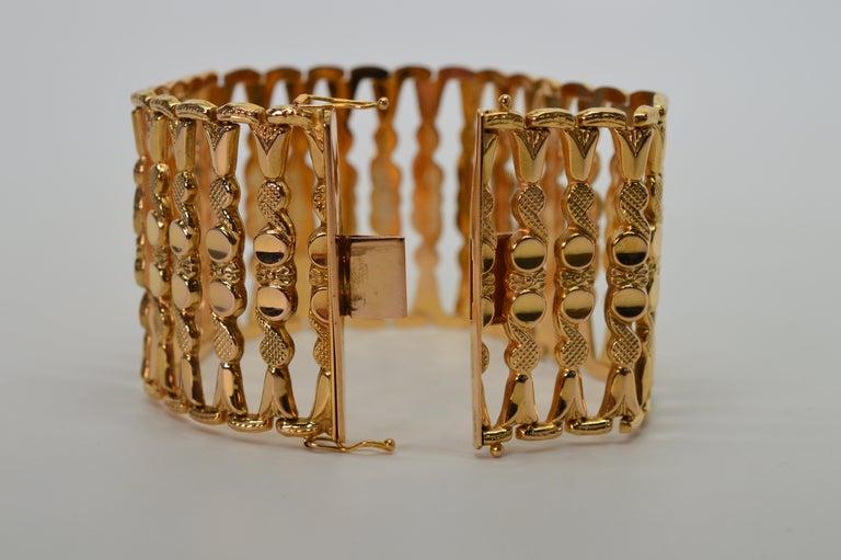 Italian 18 Karat Yellow Gold Wide Ladder Link Bracelet For Sale 3