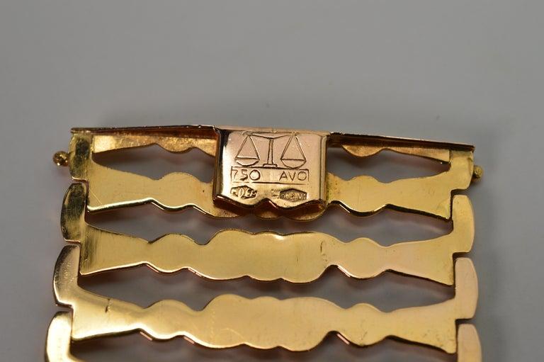 Italian 18 Karat Yellow Gold Wide Ladder Link Bracelet For Sale 4