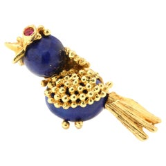 Italian 18kt Gold Brooch with Lapis Lazuli and Ruby, in the Shape of a Bird