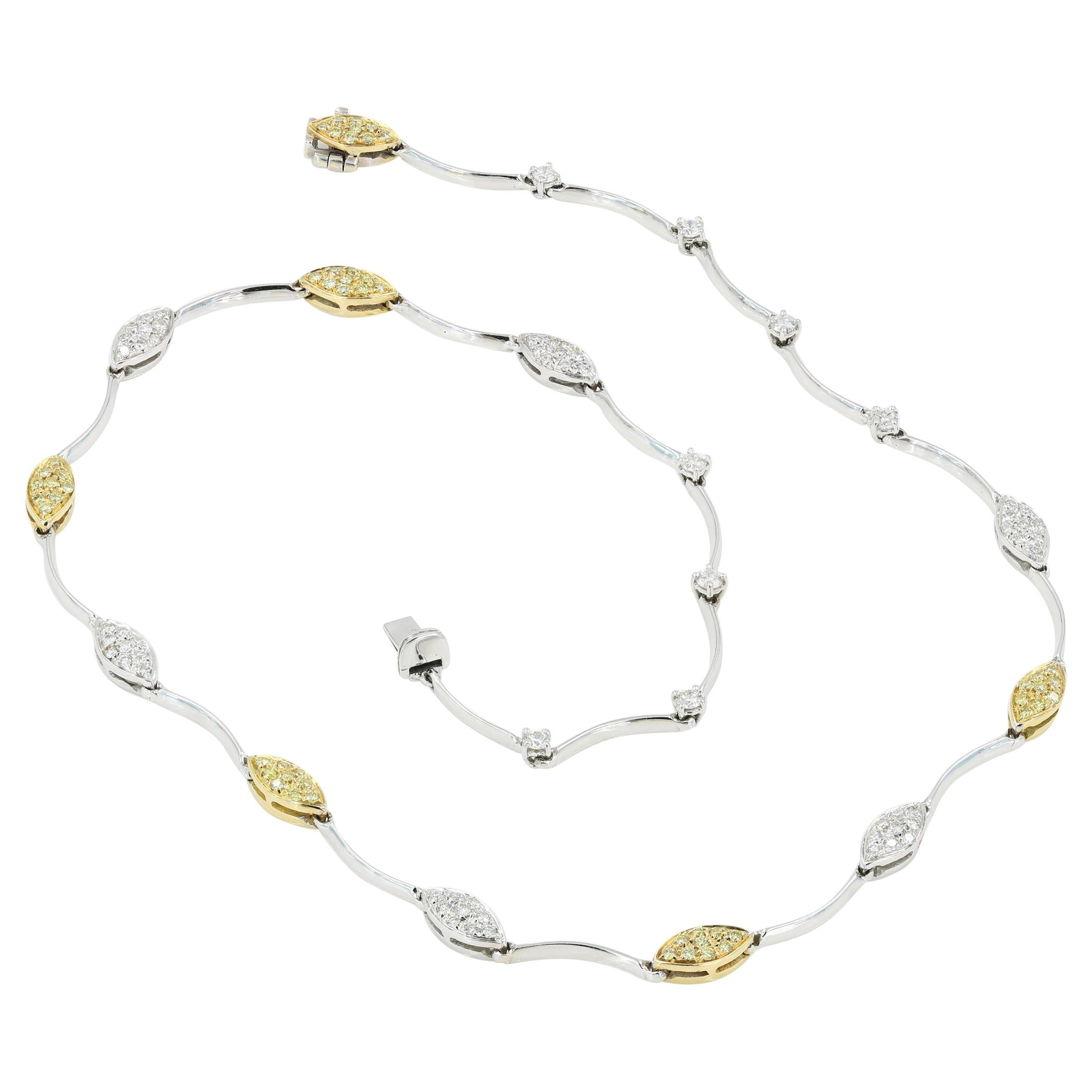 Italian 18kt White and Yellow Gold Necklace with Natural Yellow & White Diamonds