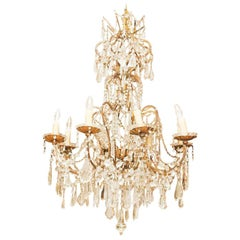 Italian 18th C. Gilt Iron And Crystal Corona Chandelier
