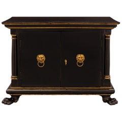 Italian 18th Century Baroque Ebonized Fruitwood and Ormolu Jewelry Cabinet