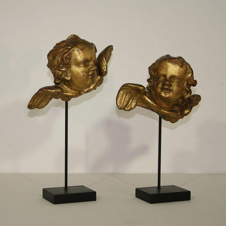 Hand-Carved Italian 18th Century Baroque Gilded Angel Heads For Sale