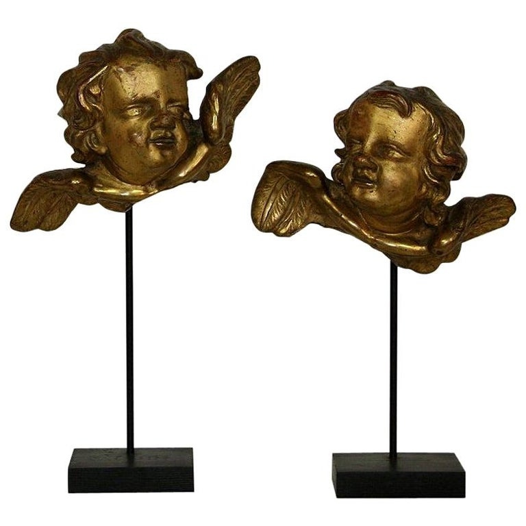 Italian 18th Century Baroque Gilded Angel Heads For Sale