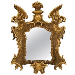 Italian 18th Century Baroque Giltwood and Polychrome Mirror from Florence