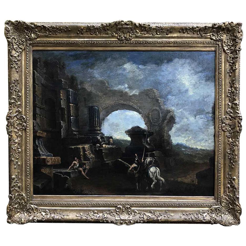 Italian 18th Century Baroque Landscape after Magnasco Large Capriccio with Ruins