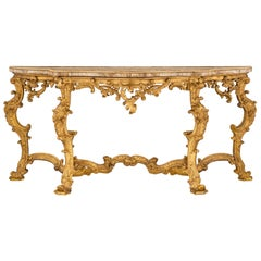 Italian 18th Century Baroque Period Giltwood, Ormolu and Marble Console