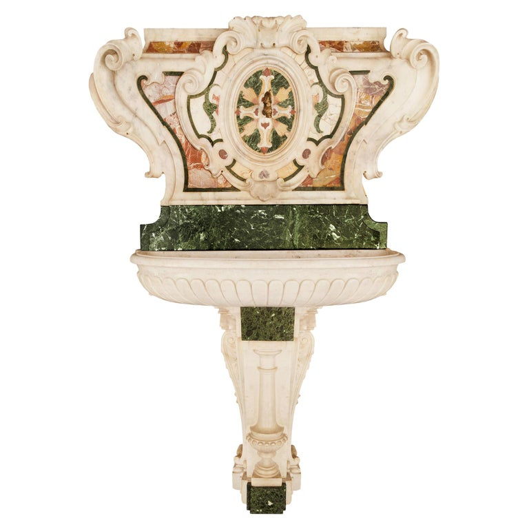 Italian 18th Century Baroque Period Marble Fountain For Sale