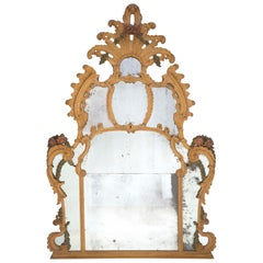 Italian 18th Century Baroque Period Polychrome Mirror