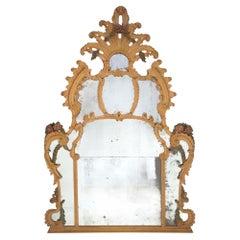 Italian 18th Century Baroque Period Polychrome Mirror