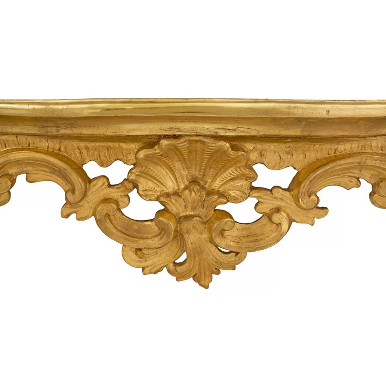 Italian 18th Century Baroque Style Giltwood Console For Sale 1