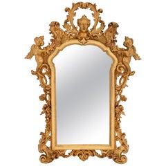 Italian 18th Century Baroque Style Giltwood Mirror