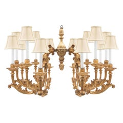 Italian 18th Century Baroque Style Fourteen Light Giltwood and Mecca Chandelier