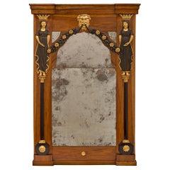 Italian 18th Century Baroque Walnut and Giltwood Mirror