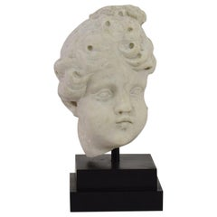 Italian 18th Century Baroque White Marble Angel Head