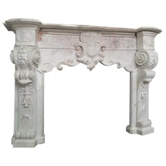 Italian 18th Century Carrara Marble Fireplace Richly Decorated Baroque Style
