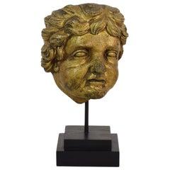 Italian 18th Century Carved Giltwood Baroque Angel Head