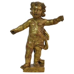 Italian 18th Century Carved Giltwood Baroque Angel or Putti