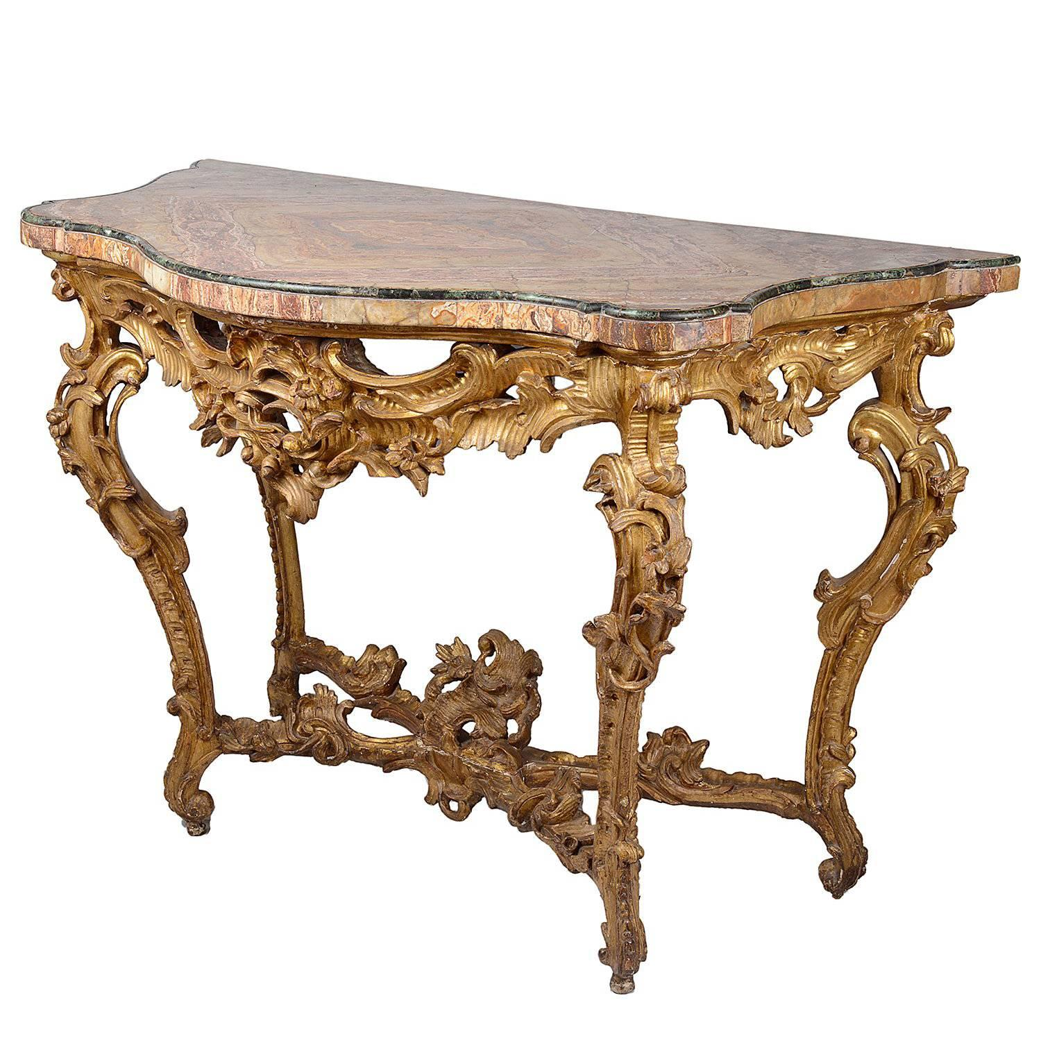 Italian 18th Century Carved Giltwood Console Table