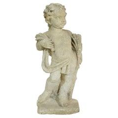Italian 18th Century Carved Limestone Angel Cherub