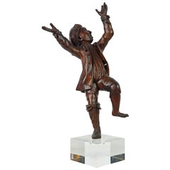 Italian 18th Century Carved Statue of a Dancing Jubilant Boy on a Lucite Base