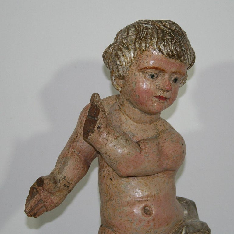 Italian 18th Century Carved Wood Baroque Angel For Sale 10