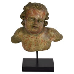 Italian 18th Century Carved Wooden Angel Bust