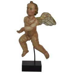 Italian 18th Century Carved Wooden Baroque Angel