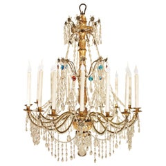 Italian 18th century color and clear glass Genovese chandelier