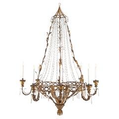 Italian 18th Century Crystal and Gilt Metal Venetian Chandelier